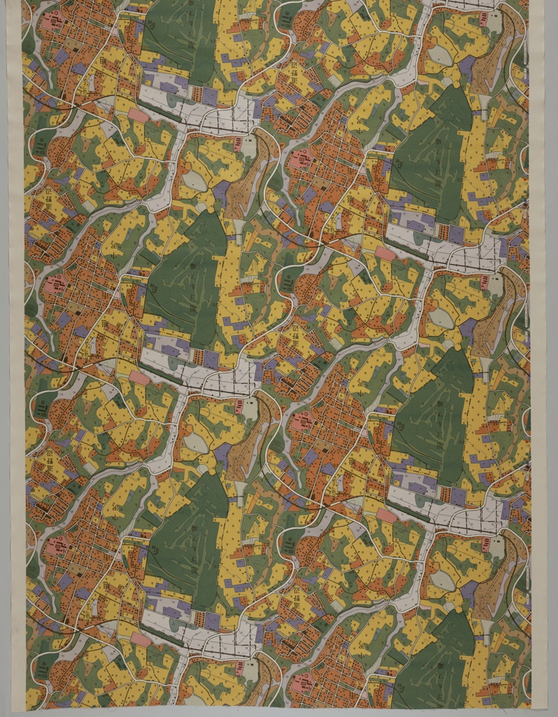 Brightly colored map of a town.