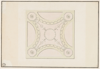 Horizontal format design for a square plaster ceiling. The scheme is that of a cupola shown from below. Segments are shown at the four sides. In the corners are octagons containing disks. The spherical octagon stands upon oblique sides. These parts of the octagon show candelabra topped by palmettes. In the center is a circular frame. Festoons hang from the curved sides of the spherical octagon. Framing strip near the edge.