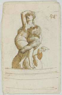 A merman holds a nude woman in his arms. The front of a round basin is indicated below.