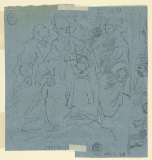 A man hangs by his hands. Two men in front of him seem to remove his intestines, while two onlookers are in the background. On the back a sketch: its continuation is on the back of -1914. Black crayon: a bishop sits upon clouds, surrounded by monks. At the right part of a structure from which men seem to look on in front of it seemingly a kettle (too much is cut away to be precise).