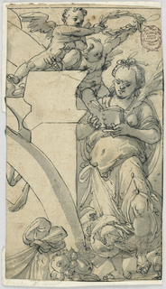 At left, the suggestion of an arch. Above, a two putti hold a laurel wreath over a reading figure. At the bottom, fruit and drapery.