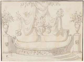 Elevation of a boat-shaped sofa with a woven base, standing on a stepped platform. On either side is a column decorated with lion mask, supporting a vase with floral sprays. Two cushions on the sofa, each with a bow. At center, a figural vase with floral sprays sits under drapery .