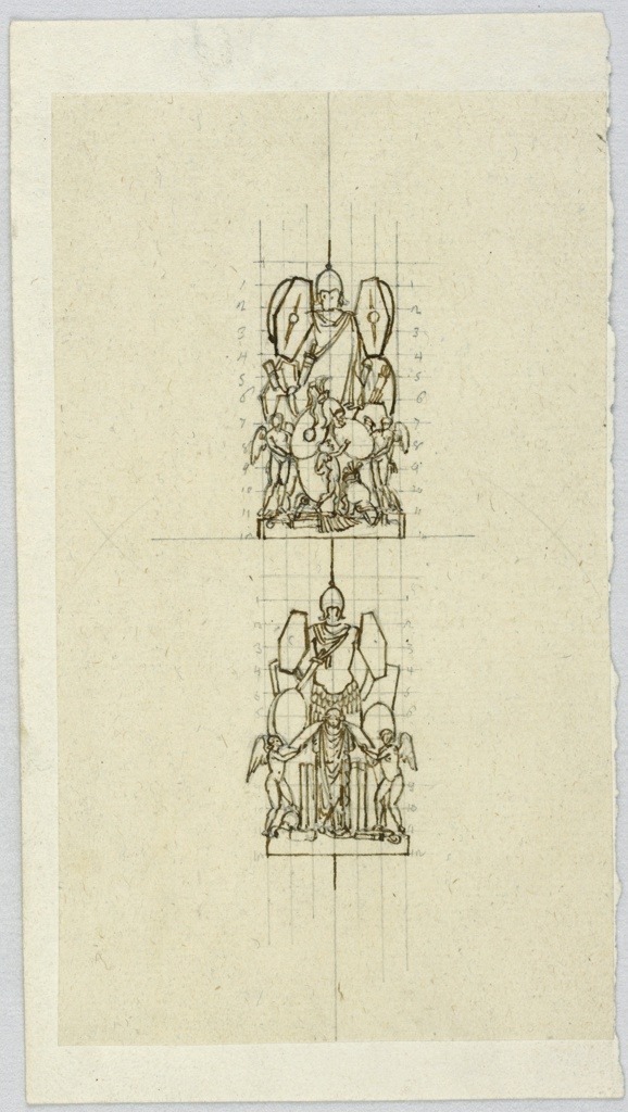 Vertical rectangle. Two designs for trophies. Below are the bases. In the center are panoplies. Upper design: two genii hold two of the shields, a putto points at one of them. Lower design: below in the center stands a captive, flanked by two genii holding sheets. Both designs are squared, the squares being laterally numbered up to 12.