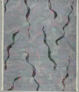 An allover design of swirling lines in pink, purple, green, orange and silver on a black background overlaid with a silver veil which mutes the colors and is interrupted by serpentine brushstrokes which show the bright colors underneath.