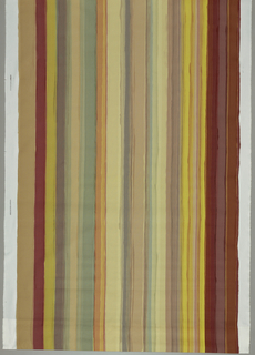 Painted stripe in yellow, beige and red.
