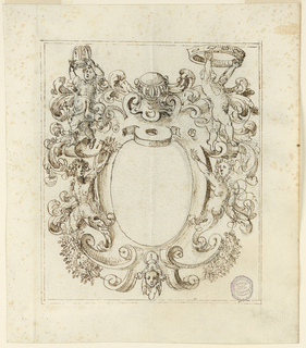 Frame with scrollwork. At top center, two putti hold crowns above female half figures with acanthus tails. At center below, a mask and festoons. Blank oval panel at center. Double framing lines.