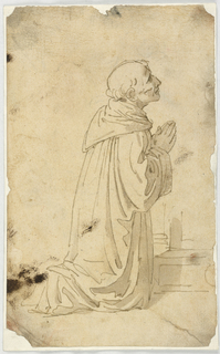 A monk kneels, facing right with hands in prayer.