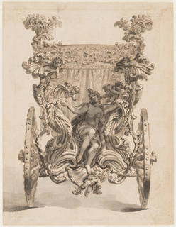 "Design for the back of a coach. Draped female figure of ""Truth"" holding the sun in center of a rinceaux with cupids in among the arabesques."