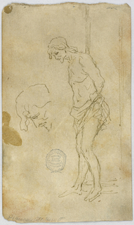 A loin-cloth clad man depicted in three-quarter profile stands with his head downcast in profile, his knees lightly bent as if leaning against something, and his arms behind his back as if bound.  There is another, larger sketch of his head, in profile, farther to the left of the drawing.