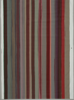 Painted stripe in maroons and greys with flashes of orange and green.