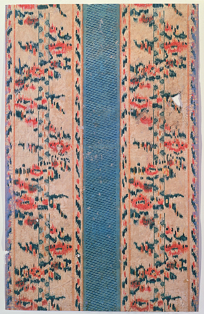 Imitating a textile. Wide blue stripe in center. On either side, a wider band of brightly colored floral design simulating embroidery.
