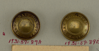 "Circular buttons, slightly convex with words ""Guarde Nat. Mobilisee"".  Components -a,-b are on card i"