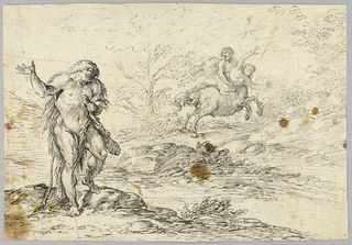 A creature, possibly a giant, stands in the left foreground, holding a club in its left arm.  In the distance, a centaur carries a nude woman whose arms are outstretched, towards the upper right corner of the frame.