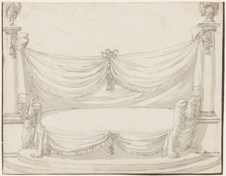 Elevation of an oval sofa with chimera legs. On either side are Tuscan columns from which fringed drapery hangs, gathered in the center with a bow knot.