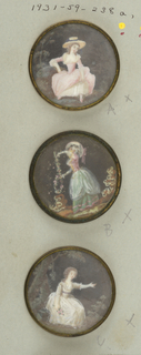 Button showing a female figure in costume of late 18th century; covered with glass; mounted in copper rim; back with tin.  On card 69