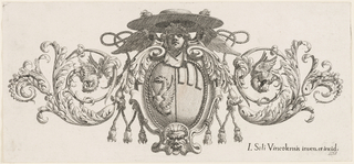 The escutcheon is topped by a cherub and flanked by acanthus spirals ending with the Buoncompagni dragons.