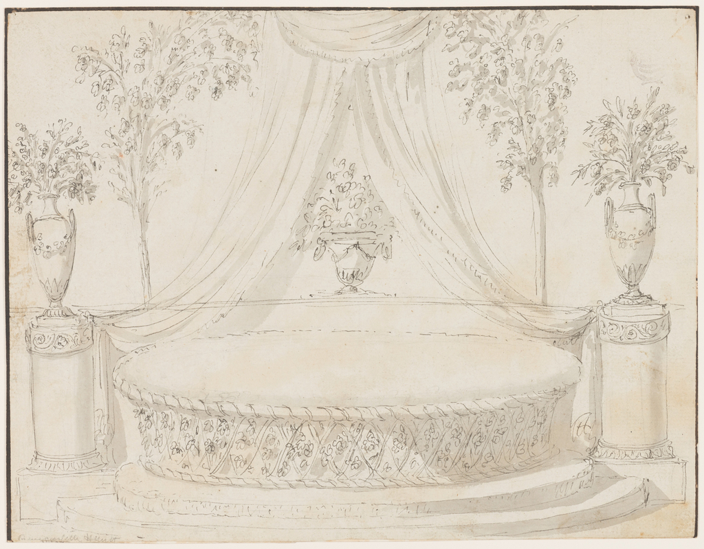 Elevation of an oval sofa with a woven base, standing on a stepped platform. On either side is a column supporting a vase with floral sprays. Two cushions on the sofa, each with a bow. At center, a figural vase with floral sprays sits under drapery .