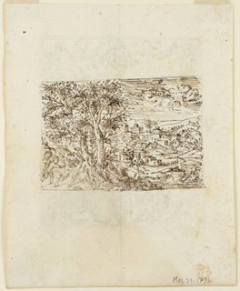 Recto: In the foreground, a group of trees, beside which are two children. View of a town beside a river in mountainous country. Verso: A strapwork frame with a term figure supporting a basket.