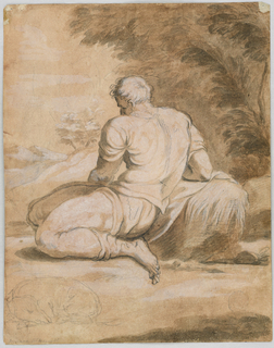 A man is shown partly in profile, partly from the left rear, kneeling under trees beside what evidently is water. A sleeping dog is sketched  in the left foreground.