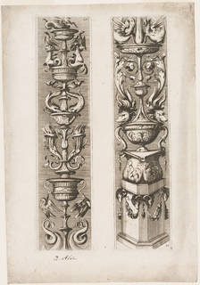 Two panels in the form of candle-standards composed of grottesche and vases. The right one includes a base in the form of an octagonal block with rams' heads and garlands. In the lower right corner, the number 28. Left panel, upper right corner, number 27.
