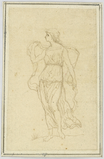 Vertical rectangle showing the figure of a woman in classical dress facing left.