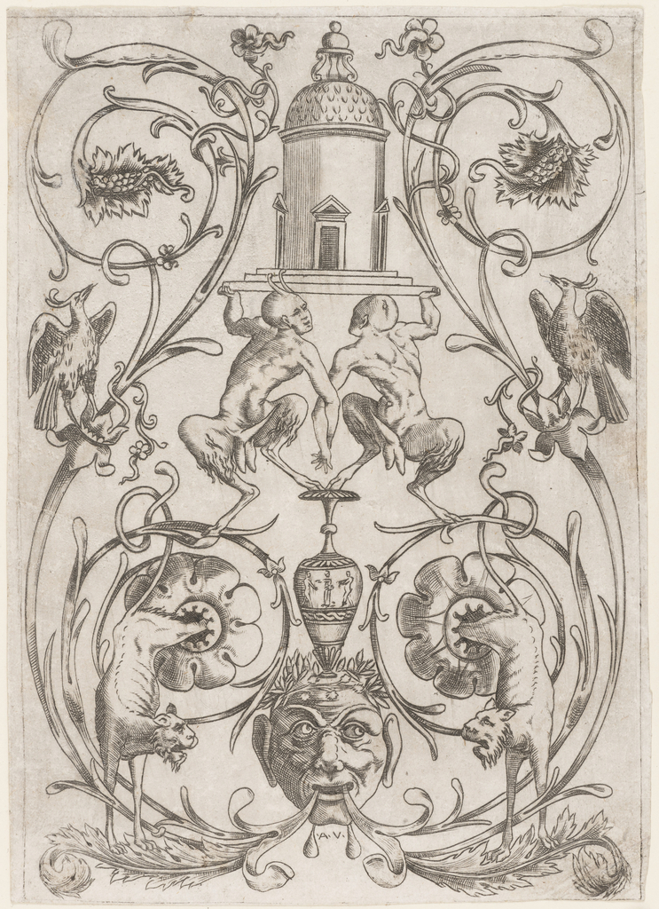 Vertical rectangle showing a symmetrical grotesque composition of arabesques, satyrs, lions and birds. At bottom, a mask. At top, a circular architectural structure.