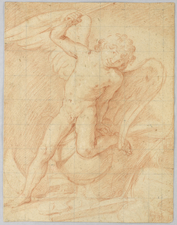 Cupid reclines upon a globe with his left leg and hand leaning onto it for support.  In his right hand he raises an arrow.
