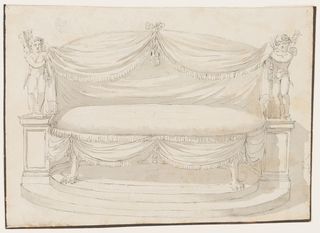 Elevation of an oval sofa with animal paw feet standing on a stepped platform. On either side is a Cupid standing on a plinth with a quiver of arrows, supporting fringed drapery held together at center with a bow knot.