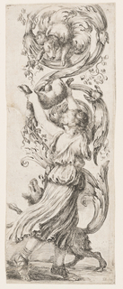 Vertical rectangle showing a woman offering a lamb to a hound emerging from an acanthus leaf above her head. At her feet, another hound.