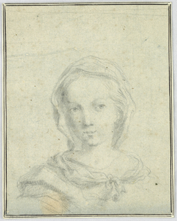 Head of a young woman with her hair covered by a scarf knotted at the breast.