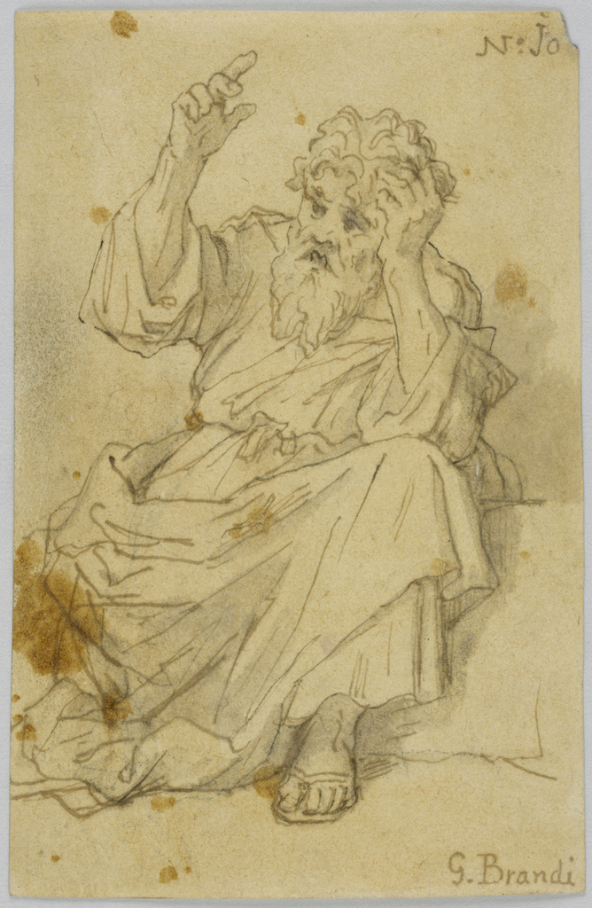 A man with a beard wearing a robe and sandals sits, one hand supporting his head and the other raised.