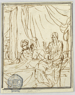 Verticaal composition of Jacob receiving Isaac's blessing. Jacob kneels before the bed, in which Isaac sits. Rebecca is lifting an infant behind the bed. At left in the background is a door with a person exiting