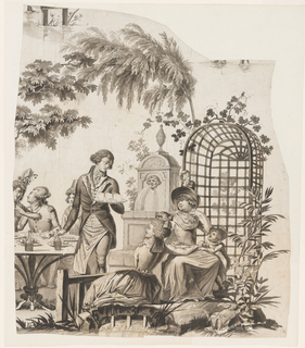 One of two fragments, parts of three large islands of a cartoon for printed fabric: Picnic scene with officer and two ladies seated at table before an arbor