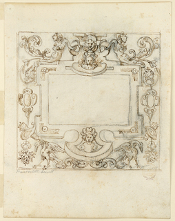 Frame with grotesque decoration. At top center, child and lion masks flanked by half figures of armless mermaids with acanthus tails. Below, escutcheons, trophies, and birds. Blank central panel. Double framing lines. Verso: A figure seated below a canopy in a wagon drawn by cows.