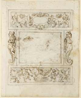 Blank center rectangle is framed by term figures terminating in acanthus leaves. Above, a grotesque frieze with putti and satyrs. Below, a frieze with four dancing satyrs.