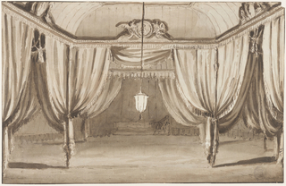 The tent is partitioned into three sections by posts. The front section is lit by a lantern suspended from the ceiling. Inside this section, there is a circular medallion supported by two winged figures, just below the ceiling. In the background, behind the tent, a woman sits in the corner of the sofa, against the rear wall.