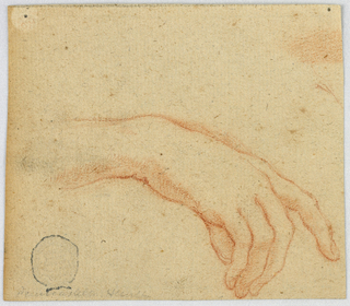 Sketch of right hand curving downward with index finger slightly extended.