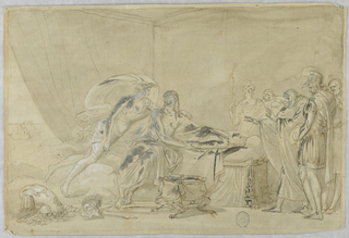 Central figure reclines on deathbed.  Concerned onlookers, in classical dress and armor, look on.