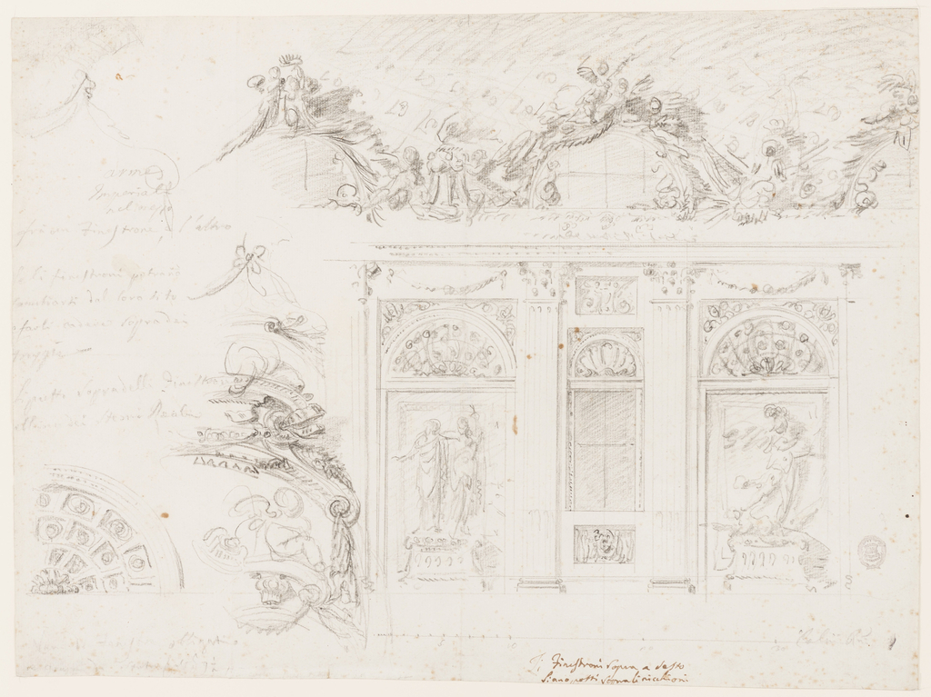 """Design for a sculpture gallery.  At right, is a section of a wall with windows.  Pillars support an entablature frame, narrow panel with a window-case, and broader panels without a window.  In front of a rectangular niche at left, upon a pedestal, stands a sculptural composition of two (probably) female figures embracing, the height of the statues is given as """"p 9 1/2"""".  At right, also on a pedestal, is a sculptural scene of St. Michael stepping on the devil.  A festoon hangs in the frieze above the niche.  Above the entablature are semi-circular windows with a richly decorated frame with a group of putti, beside a tripod, and at right, a trophy.  A coffered ceiling is indicated.  Below there is indication of the scale: """"Palmi Rni.""""   At left, are studies of details of the upper part of the decoration.  Along the left margin, at the bottom, is a project for a coffered conch of a niche.  Above, also along the left margin, is inscribed in charcoal: """"arme Imperiali / nel / mezzo / fra un Finestrone e l'altro se li finestroni potrano cambirasi dal loro sitd / e frali cadere sopra de gurppi (?) / Li putti sopra delli Finestra obligati (?) e gruppi di statue 6 (?) alti p 9 1/2.""""  Inscribed at the lower edge near the center below the panel with the window in ink, different hand: """"Li Finestroni sopra a desto / Siano putti sopra li nicchioni; indication of scale in Palmi Rni;  inscribed on verso in pen and brown ink: Interno / di Galleria ornata all Rochocho"""