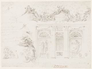 "Design for a sculpture gallery.  At right, is a section of a wall with windows.  Pillars support an entablature frame, narrow panel with a window-case, and broader panels without a window.  In front of a rectangular niche at left, upon a pedestal, stands a sculptural composition of two (probably) female figures embracing, the height of the statues is given as ""p 9 1/2"".  At right, also on a pedestal, is a sculptural scene of St. Michael stepping on the devil.  A festoon hangs in the frieze above the niche.  Above the entablature are semi-circular windows with a richly decorated frame with a group of putti, beside a tripod, and at right, a trophy.  A coffered ceiling is indicated.  Below there is indication of the scale: ""Palmi Rni.""   At left, are studies of details of the upper part of the decoration.  Along the left margin, at the bottom, is a project for a coffered conch of a niche.  Above, also along the left margin, is inscribed in charcoal: ""arme Imperiali / nel / mezzo / fra un Finestrone e l'altro se li finestroni potrano cambirasi dal loro sitd / e frali cadere sopra de gurppi (?) / Li putti sopra delli Finestra obligati (?) e gruppi di statue 6 (?) alti p 9 1/2.""  Inscribed at the lower edge near the center below the panel with the window in ink, different hand: ""Li Finestroni sopra a desto / Siano putti sopra li nicchioni; indication of scale in Palmi Rni;  inscribed on verso in pen and brown ink: Interno / di Galleria ornata all Rochocho"