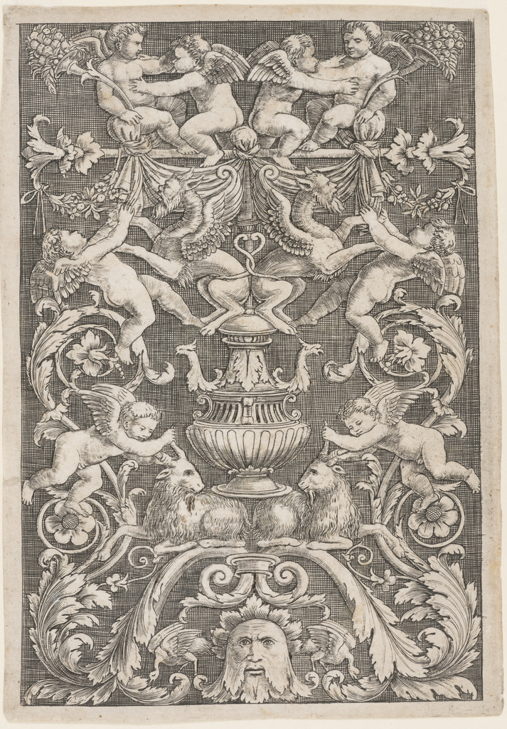 Vertical rectangle showing symmetrical grotesque composition. At top, putti wrestle two manticore. Below, a candelabrum motif, two goats, and a mask.