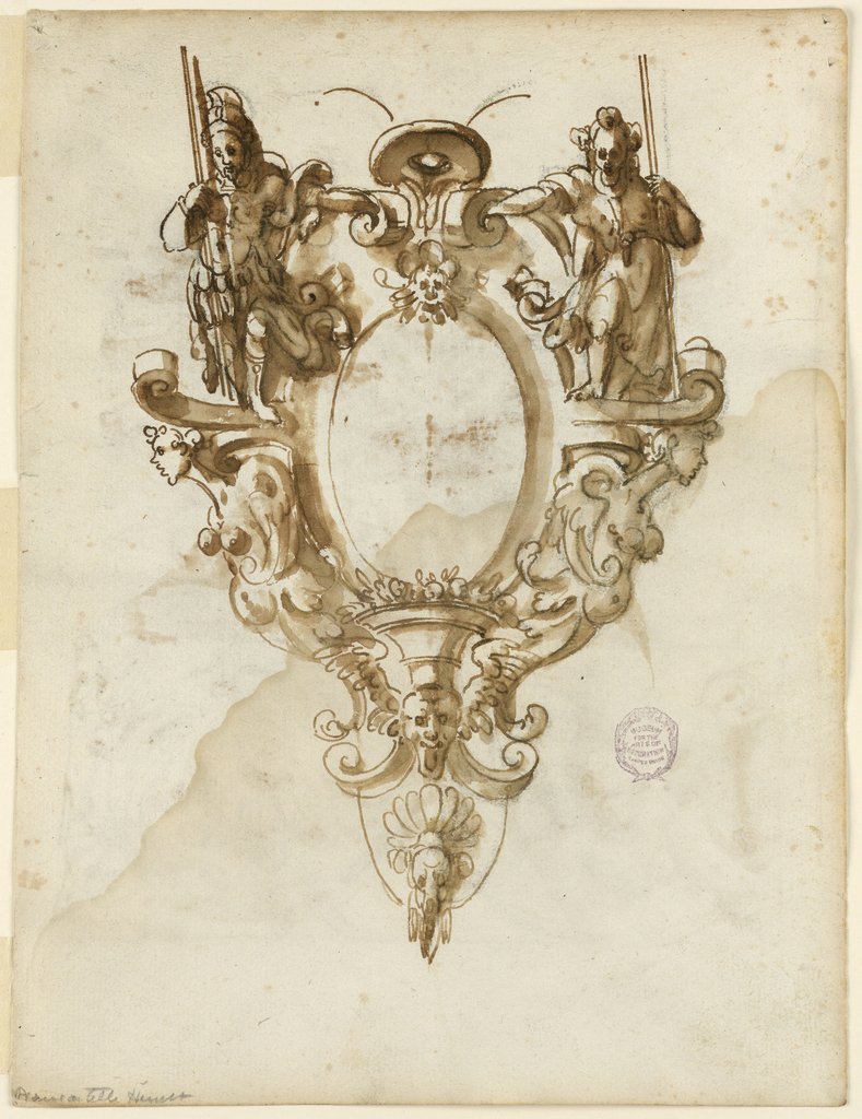 Vertical rectangle. a) The scrollwork frame of an ovoid, with standing figures beside the upper part, a classical warrior at left, a woman at right, both with sticks. Half figures of harpies are beside the lower part. In the centre below is a bowl with an animal's skull in the center. Recto: Above is b) two trees are in the center of the foreground. Houses and mountains are in the middle ground at left and at right. Separated by the framing line is c). Shown is one unity of the decoration. At left is a half escutcheon. Beside it is a half figure of a winged woman. Drapery festoons are supported by the hands of the woman and by parts of the rinceau.