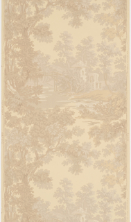 Landscape paper with a view of a clearing containing architectural structures as seen through a grove of trees.
