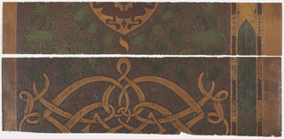 Gloss brown background with ocher shield pattern in green wreath.