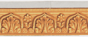 Decorative architectural molding with a stylized classical motif. Simple acanthus leaf enclosed within tongue-like brackets which end in a rosette. Alternating, daisy-like flower and leaves. Dentilled edging. Printed in yellow, brown, tan, on orange ground.