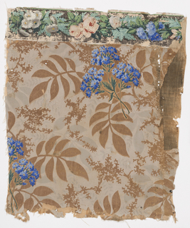 a) Sidewall: blue flowers over grisaille foliage with brown foliage reserved; b) attached border: blue flowers, red roses, green foliage over black ground.