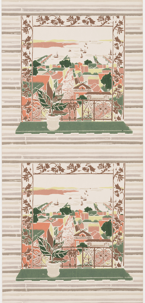 Window with a green shelf opening onto a harbor scene. Windows repeat in a vertical stripe on a background of coral, lime green and brown bamboo shades. Ground in cream.