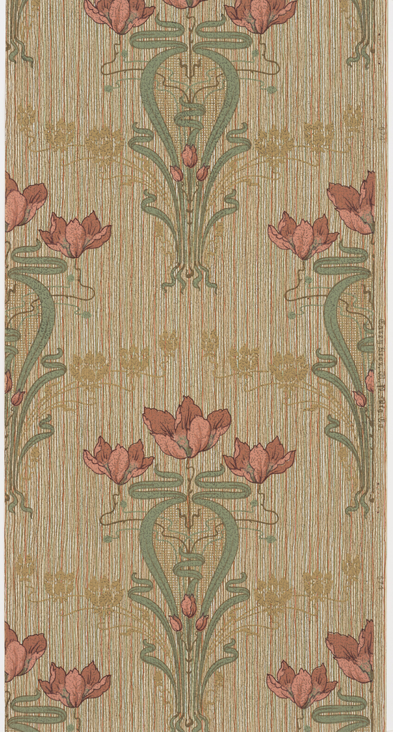 Art nouveau design with bouquets containing three stylized tulips or poppies with whiplash curve foliage. A secondary pattern of stylized tan flowers forms a circular shape around each of the bouquets. Printed in red, green, and tan on a strie background.