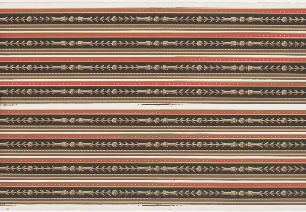 Narrow chevron and bead borders, printed eight across. Printed in brown and red against a black background.