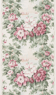 Scenes of Venice encircled by wreathes of rose and pink flowers with green foliage in a vertical stripe repeat on a cream ground.